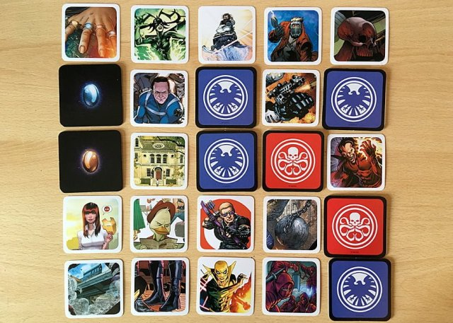 An Asset Card Grid with Some Cards Covered, Four SHIELD Cards Have Been Identified, Two Hydra Cards, and Two Neutral Cards, Image: Sophie Brown