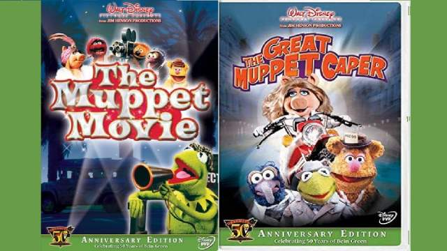 Anniversary editions of The Muppet Movie and The Great Muppet Caper DVD covers