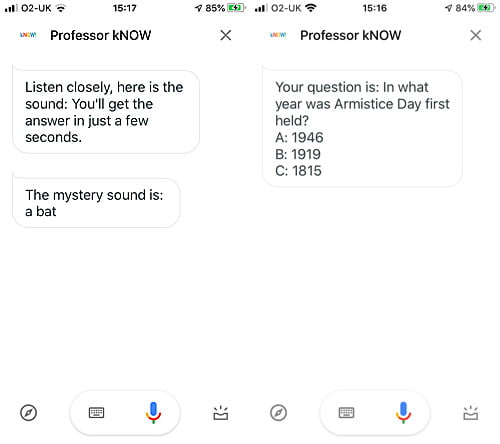 Asking Professor kNow Questions on the Google Assistant App, Screenshots: Sophie Brown