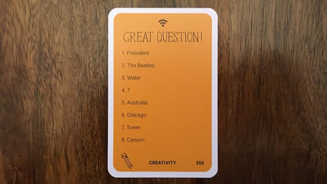 Great Question Card, Image: Sophie Brown