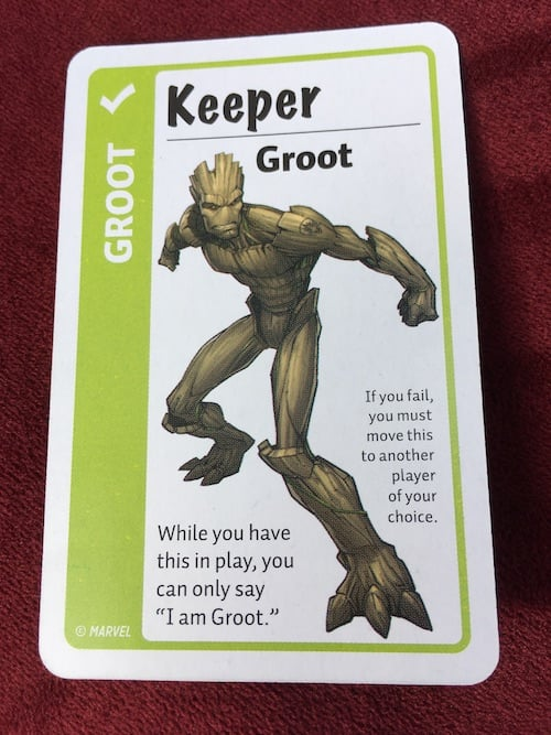 Groot card in Marvel Fluxx