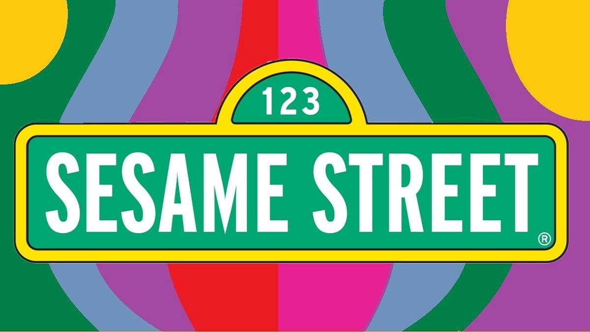 Sesame Street logo on psychedelic rainbow background