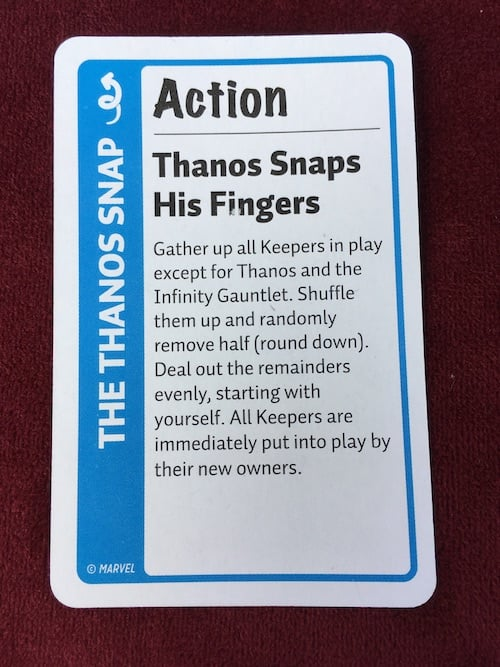 Thanos Action card in Marvel Fluxx