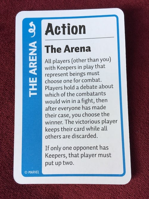 The Arena action card in Marvel Fluxx