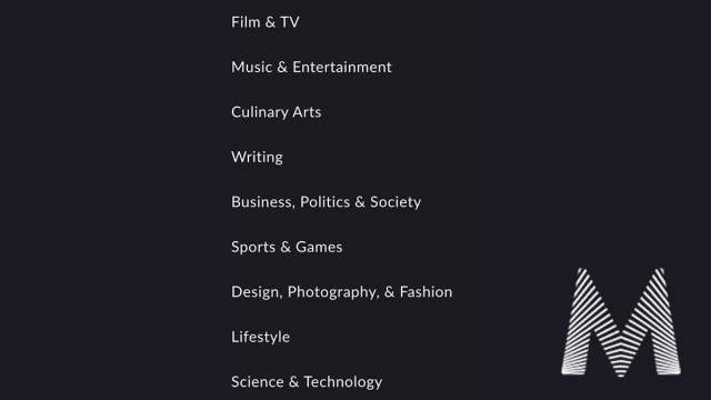 MasterClass Course Categories \ Image: MasterClass Website