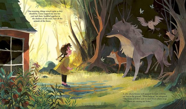 Greta and the Giants Page Spread, Image Wide Eyed Editions