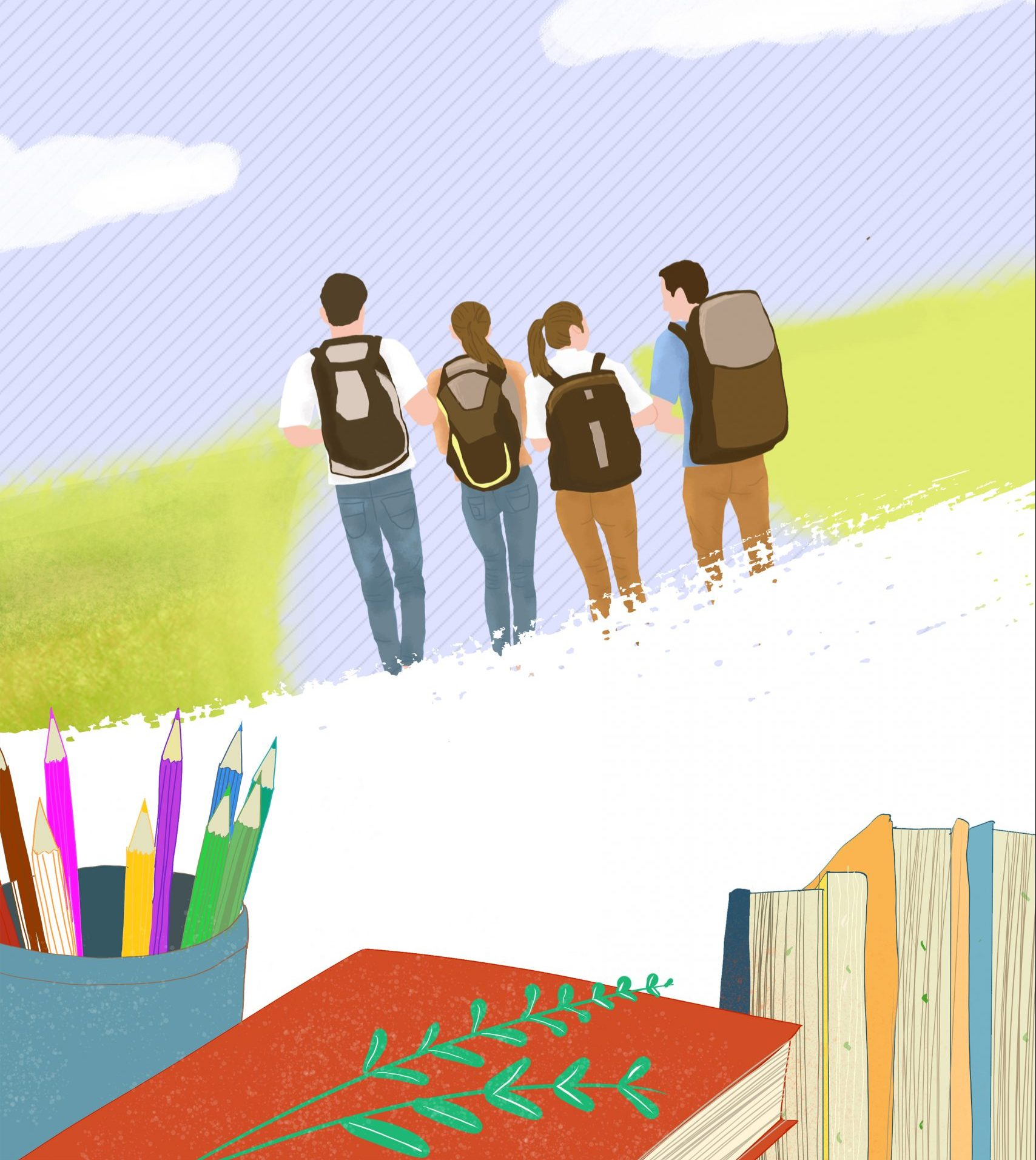 four teens in backpacks with books in foreground