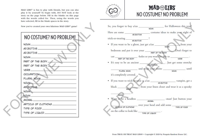 Example Mad Libs Story from the Trick or Treat Story Set, Images Mad Libs