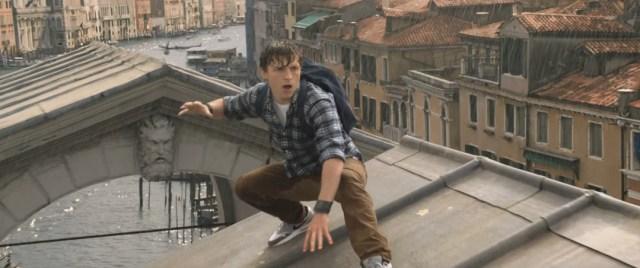 Image of Peter Parker atop Rialto Bridge in Venice, Italy