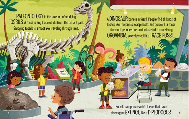 Little Leonardo Paleontology Page Spread, Image Gibbs Smith
