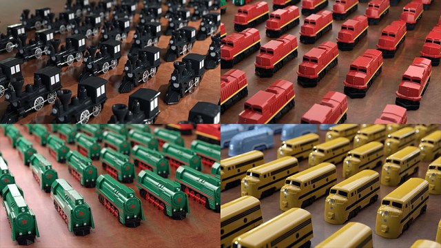 Renders of the Black, Red, Green, and Yellow Train Sets, Images The Little Plastic Train Company