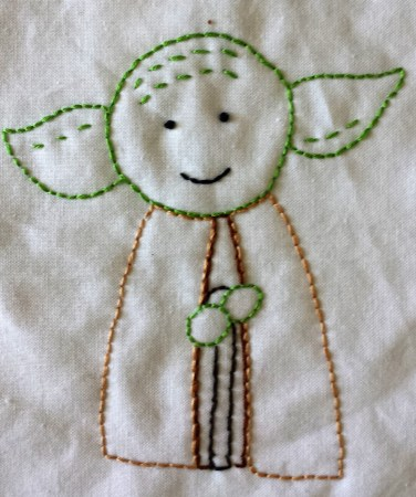 Star Wars Yoda hand embroidery free printable pattern