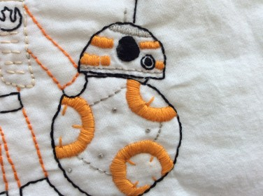 Star Wars The Force Awakens BB8 hand embroidery satin stitch detail. Download the free printable pattern!