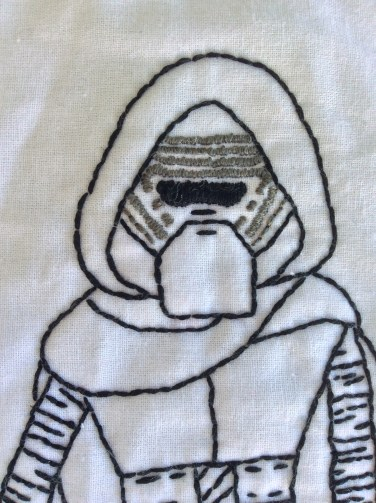 Star Wars The Force Awakens Kylo Ren hand embroidery face detail free printable pattern