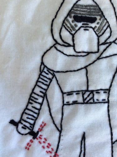 Star Wars The Force Awakens Kylo Ren hand embroidery body detail. Get the free printable pattern!