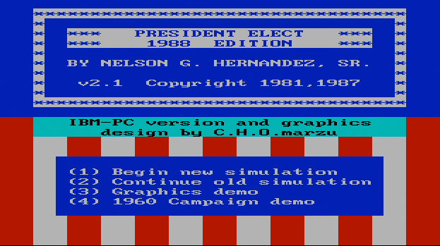 President Elect - 1988 Edition, title screen (PC version).