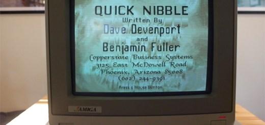 "Title screen for ""Quick Nibble"", a copy program for the Commodore Amiga."