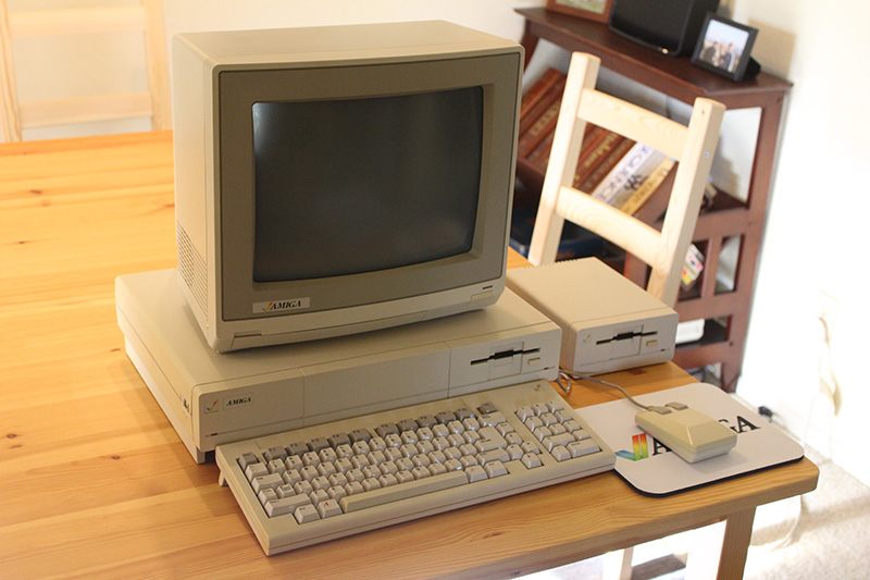 The Amiga computer system, with external drive and monitor.