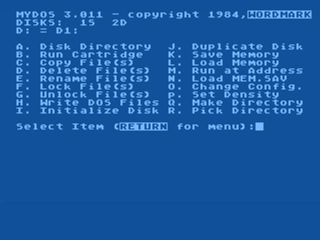 MyDOS version 3.11 for the Atari 8-bit computers.