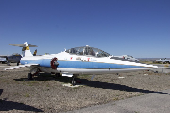 A F-104 Starfighter, in NASA livery.