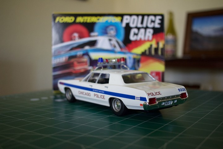 Rear-side view of AMT's Ford Intercepter Police Car model.
