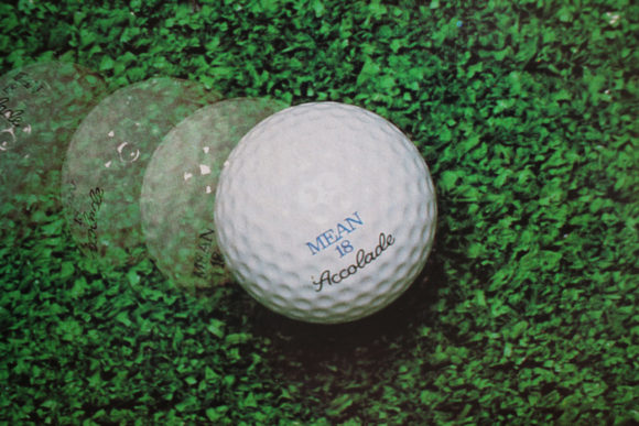 Promotional 'Mean 18 golf ball' photo from inside the mini-LP box for Mean 18.