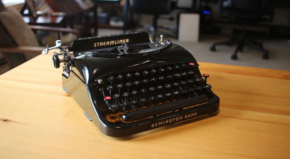 The Streamliner typewriter from Remington Rand, circa 1941.