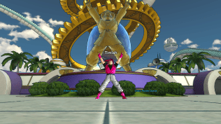 Doing the Mr. Satan victory pose by his statue.