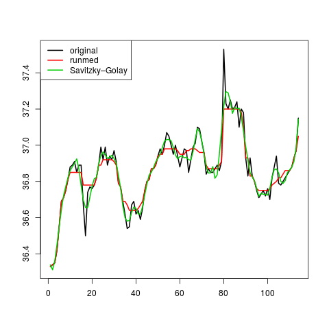 Savitzky Golay Filters Approximating Time Series Using