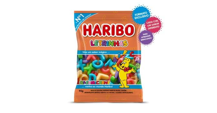 Embalagem do novo produto da Haribo. Balinhas de gelatina no formato de letrinhas.