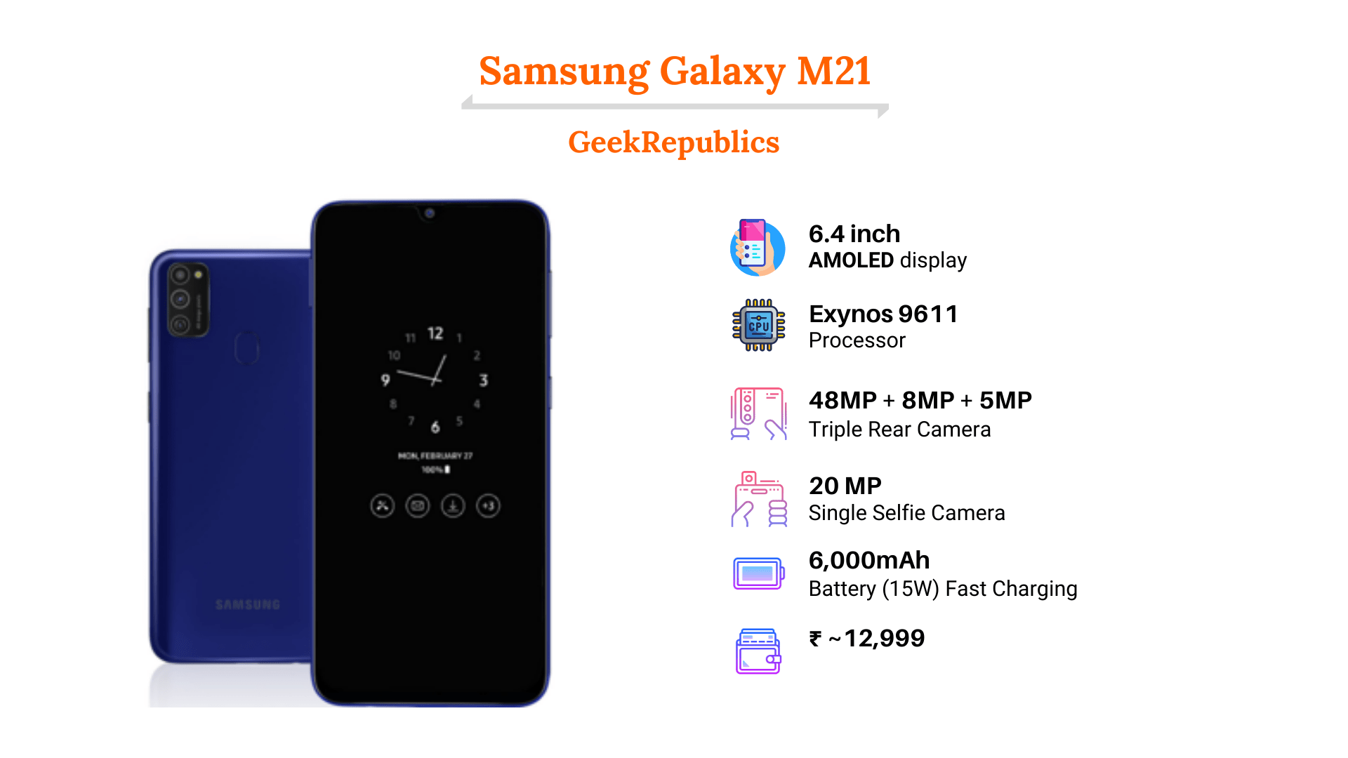 Samsung Galaxy M21 Price In India Start At Rs 12 999 Full Specification Geekrepublics