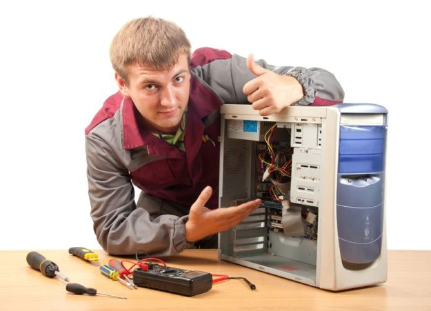 Stock Photo - Computer support engineer. Isolated on white