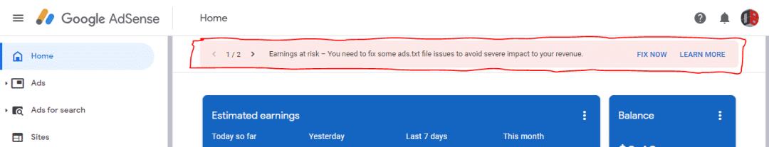 Google Adsense earning at risk