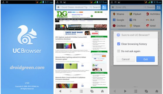 UC web Browsers for Android