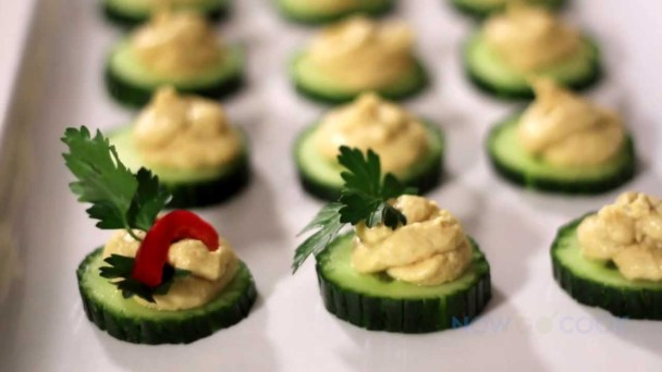 Cucumber Slices with Hummus