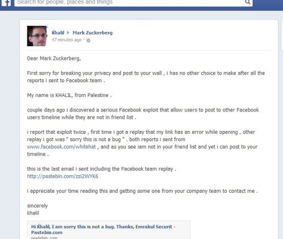 Mark Zuckerberg's Facebook Wall Hacked