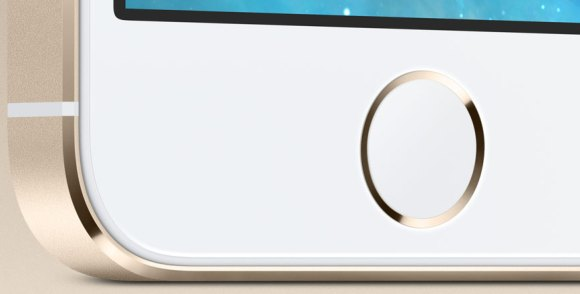 The redesigned home button, icon-less with a fingerprint scanner.