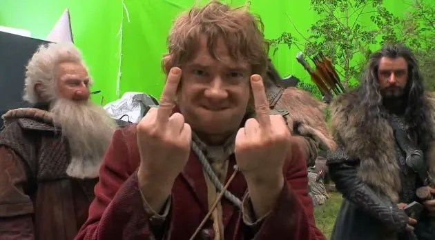 Watch Bilbo give the Finger on the set of The Hobbit: The Desolation of Smaug