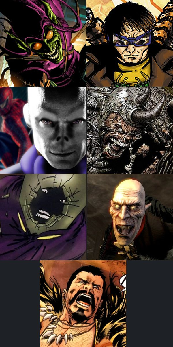 Top left - Clockwise: Green Goblin, Doctor Octopus, Rhino, Vulture, Kraven the Hunter,  Mysterio and The Chameleon