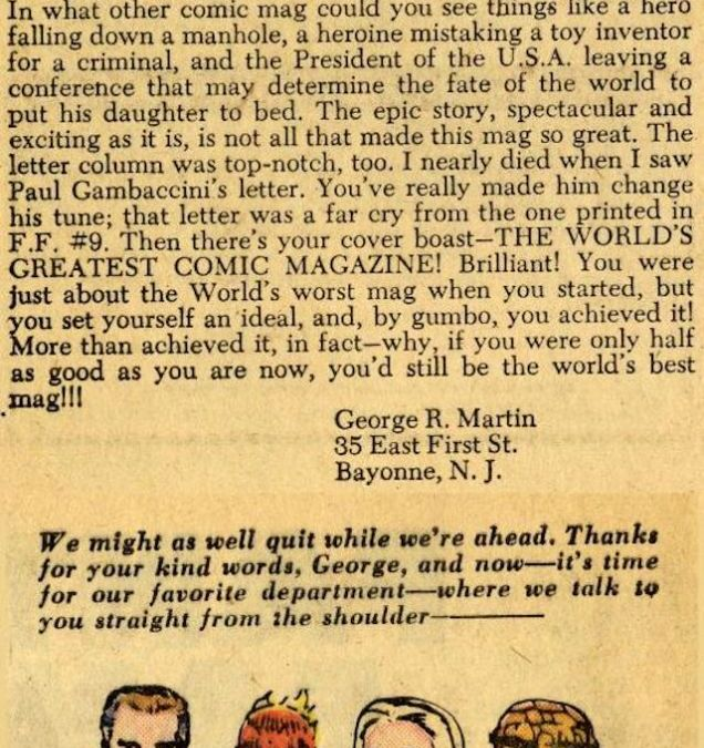 Here's the 1963 George R. Martin Fan Letter to Stan Lee