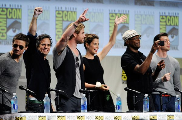 "Comic-Con: 'Avengers:Age of Ultron"" cast image courtesy of philstar.com"
