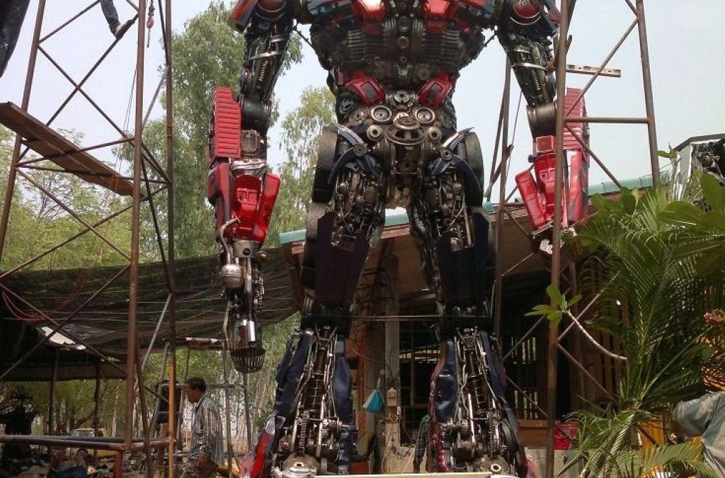 Life-Size Optimus Prime Made From Car Parts Found in Thailand