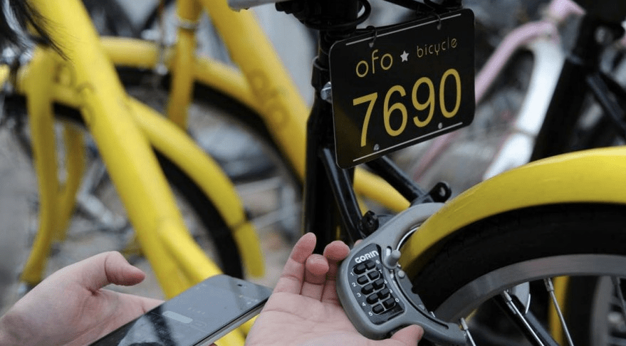 Ofo bike sharing service in Singapore, USA and UK.