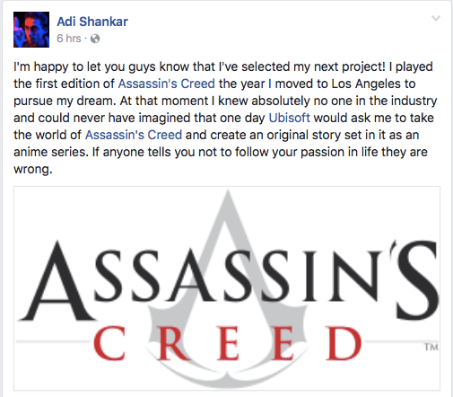 Screenshot of Adi Shankar's Facebook Post