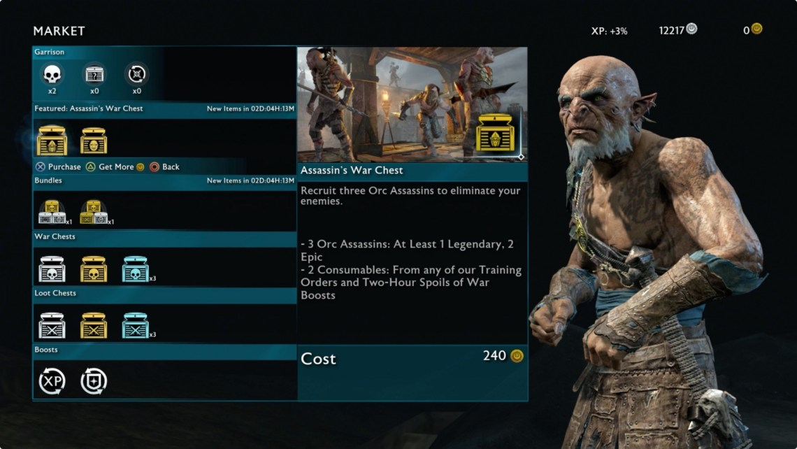 Shadow of War In-Game Market Courtesy of Warner Bros.