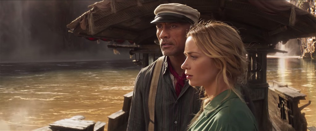 Emily Blunt as Lily and Dwayne Johnson as Frank in Jungle Cruise. (Courtesy of Walt Disney Studios)