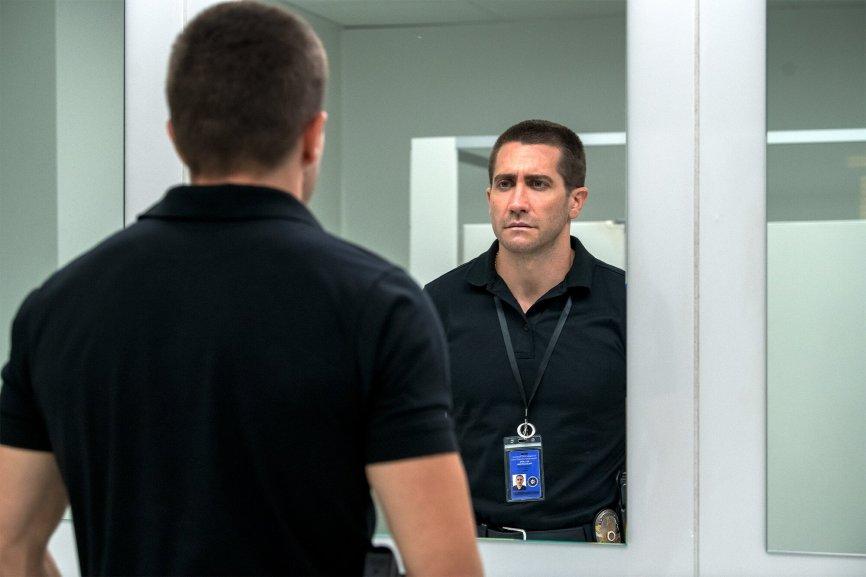 Jake Gyllenhaal as Joe Bayler in The Guilty.