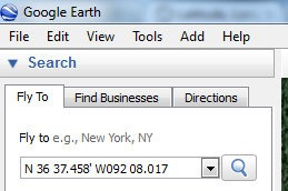 how to search gps coordinates on google earth