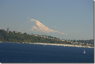 Mount Ranier as seen from the deck of the cruise ship.