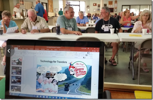 """Getting ready to teach our first seminar, """"Technology for Travelers"""", at the Living The RV Dream Gathering"""